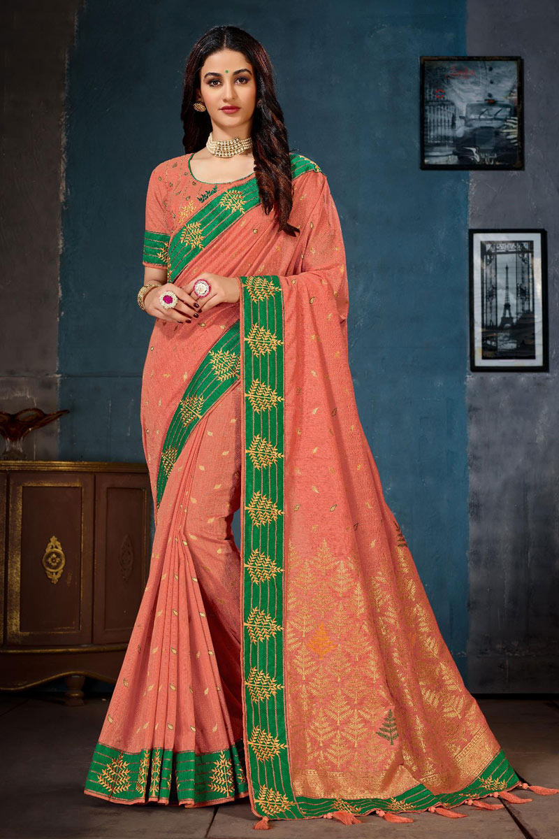 Traditional Cotton Fabric Saree In Salmon Color With Embroidery Work For Wedding Function