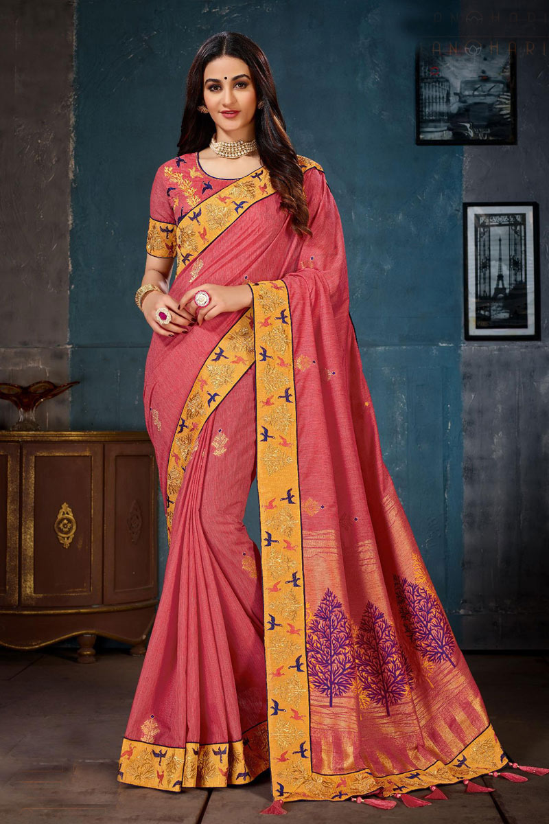 Embroidery Work On Pink Party Wear Saree In Cotton Fabric With Beautiful Blouse