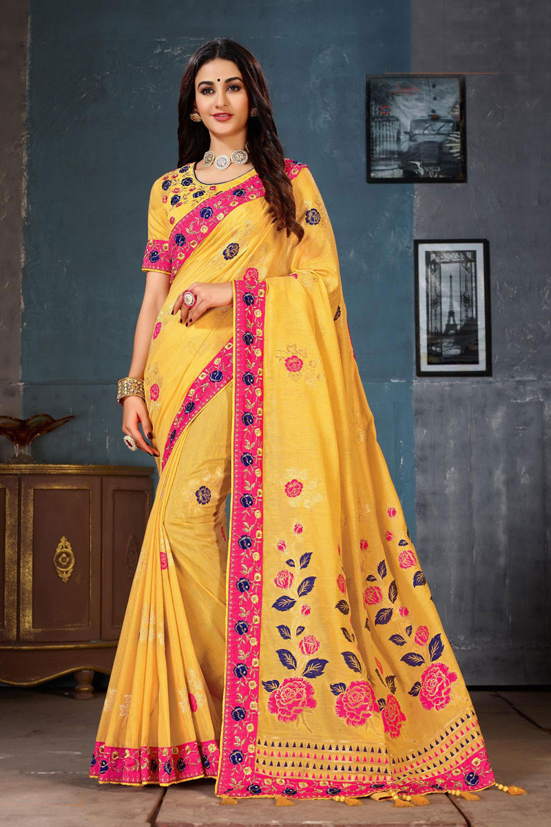 Cotton Fabric Designer Saree In Yellow With Embroidery Designs And Attractive Blouse
