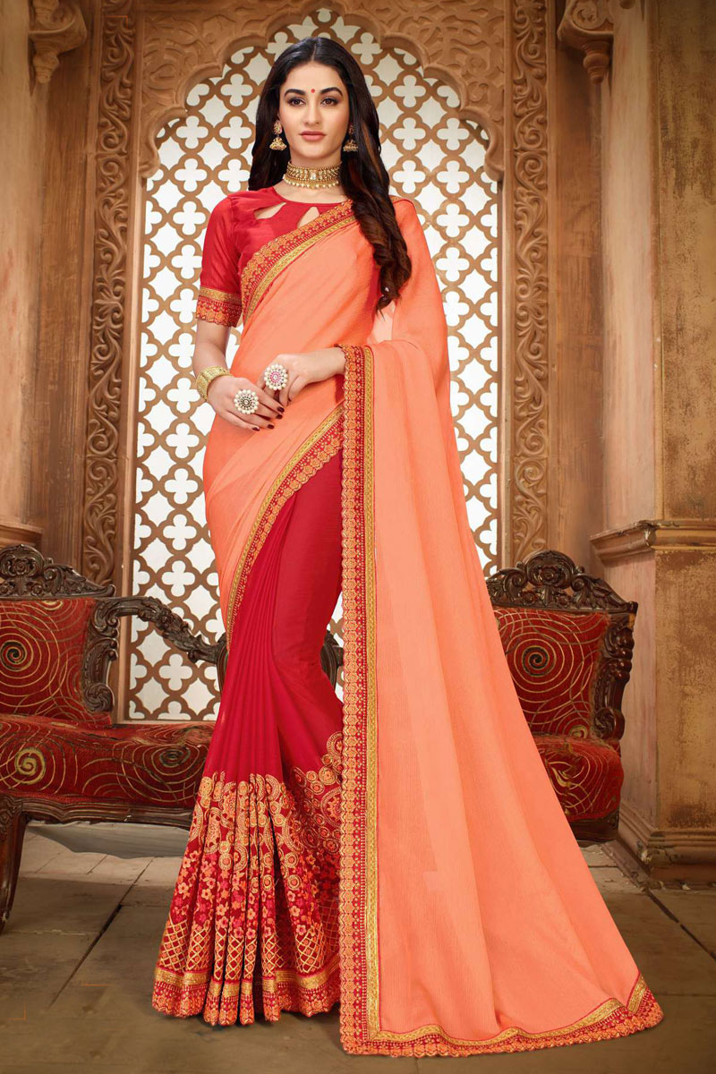 Art Silk Fabric Peach Function Wear Saree With Embroidery Work And Astounding Blouse