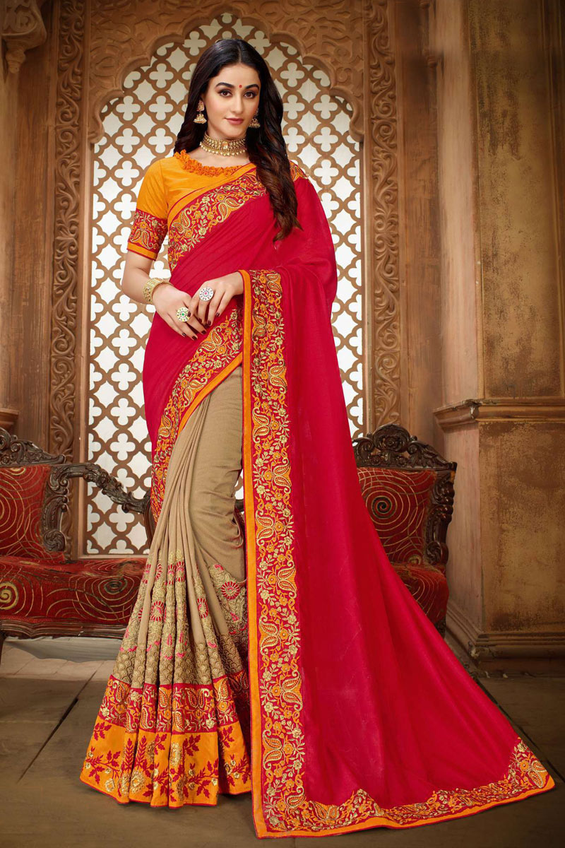 Red Art Silk Fabric Festive Saree With Embroidery Work And Gorgeous Blouse