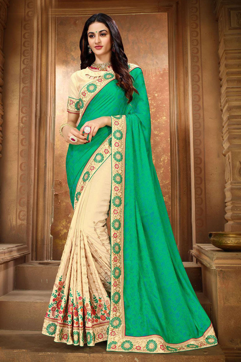 Embroidery Work On Art Silk Fabric Designer Saree In Sea Green Color With Admirable Blouse