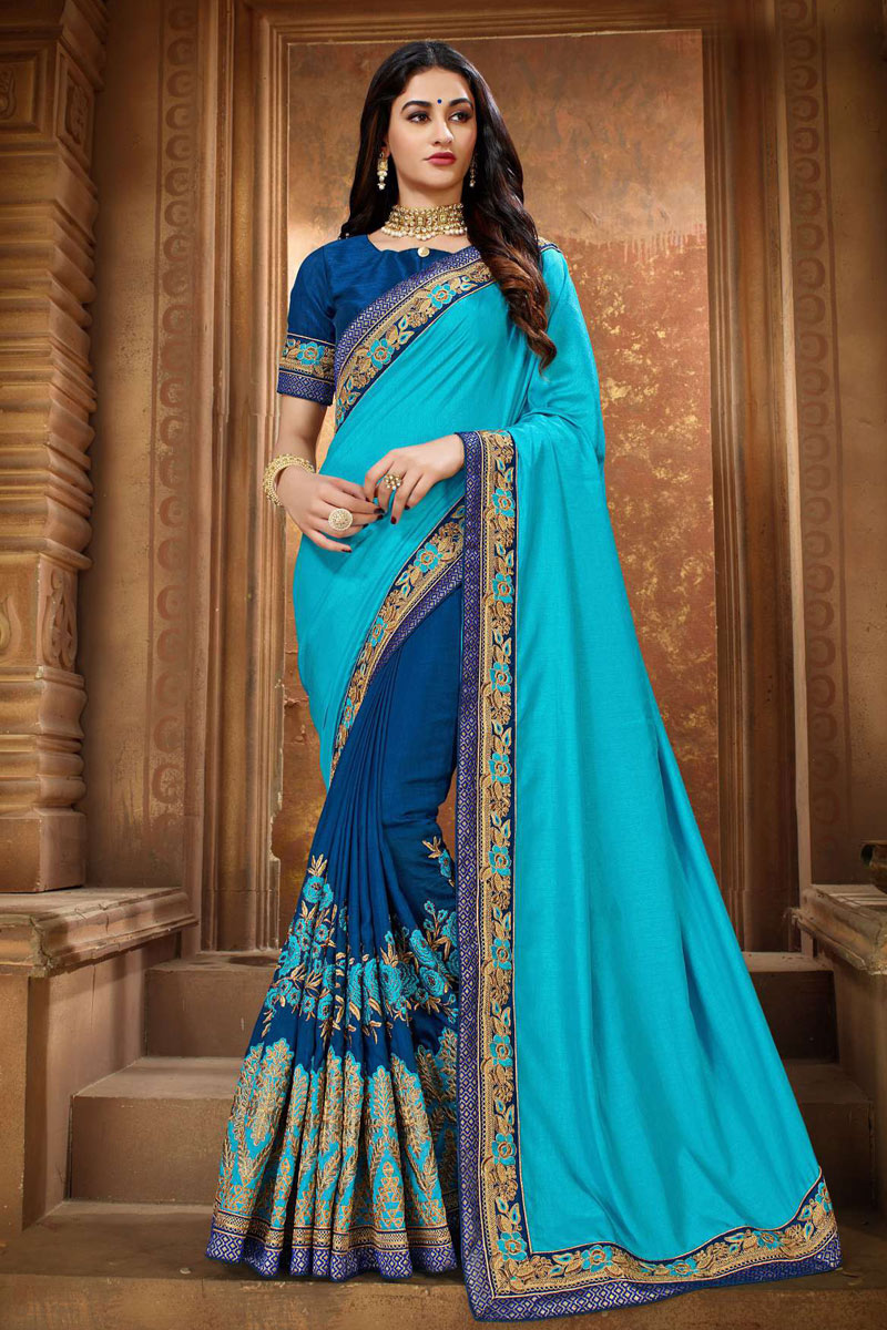 Sky Blue Designer Embroidered Saree In Art Silk Fabric With Attractive Blouse