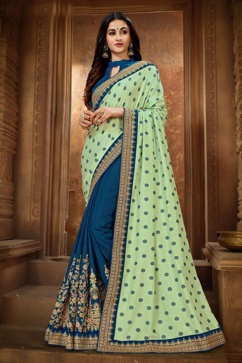 Art Silk Fabric Party Wear Saree In Sea Green With Embroidery Work And Beautiful Blouse