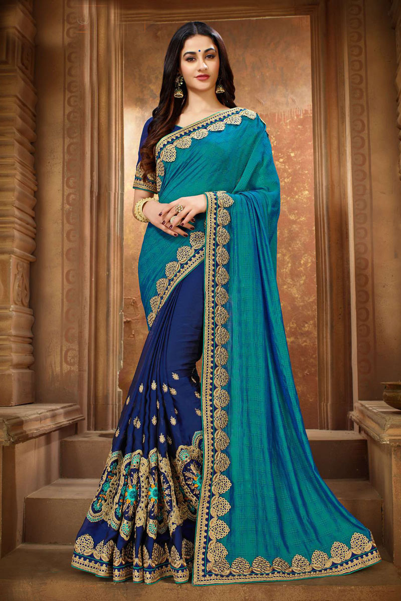 Sky Blue Art Silk Reception Wear Saree With Fancy Embroidery Work