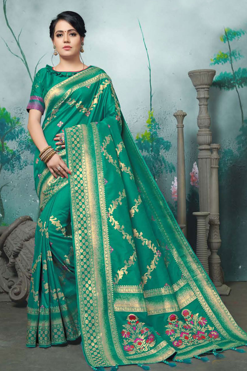 Traditional Teal Color Saree In Banarasi Silk Fabric With Weaving Work For Wedding Function