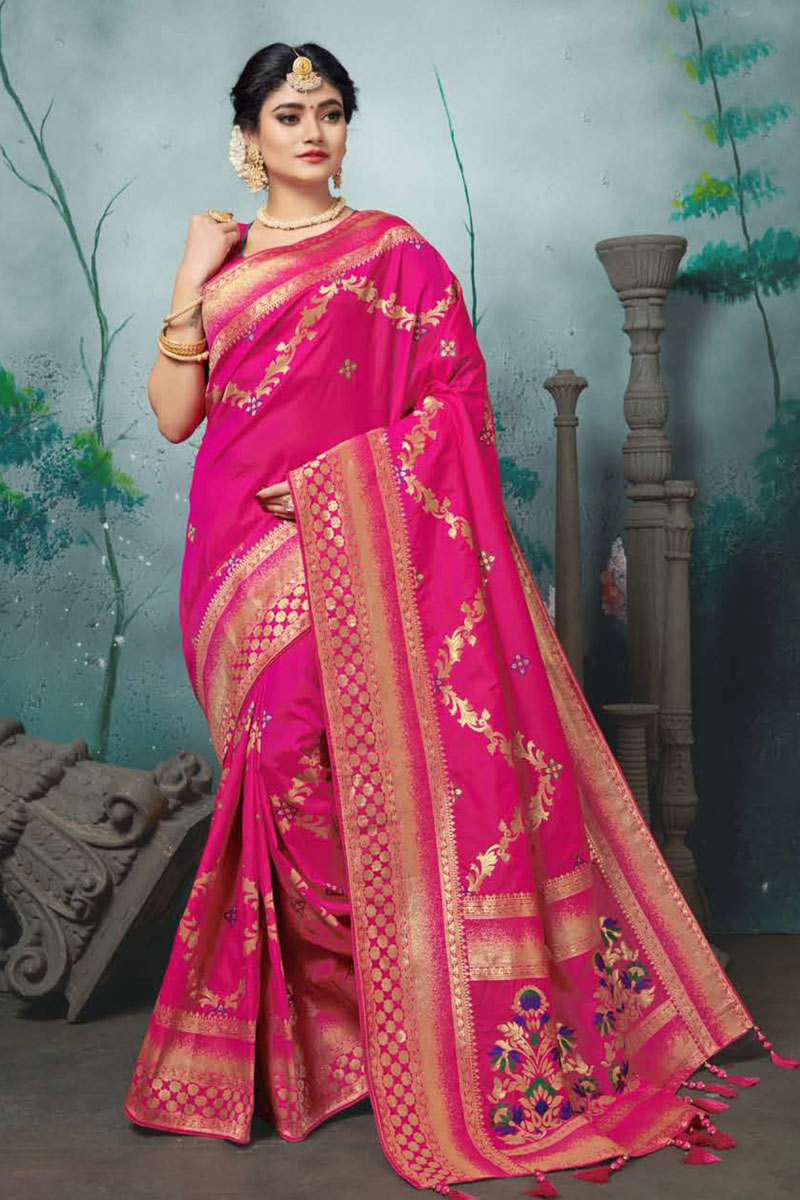 Banarasi Silk Fabric Designer Weaving Work Saree In Dark Pink Color With Attractive Blouse