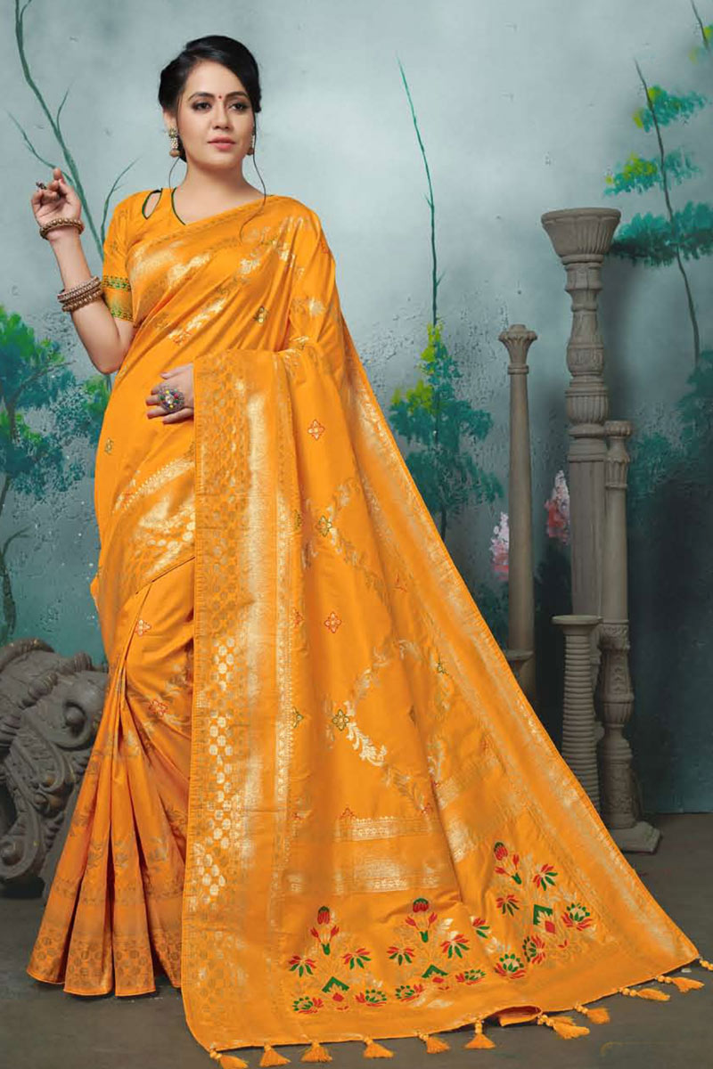 Orange Color Party Wear Saree In Banarasi Silk Fabric With Weaving Work And Beautiful Blouse