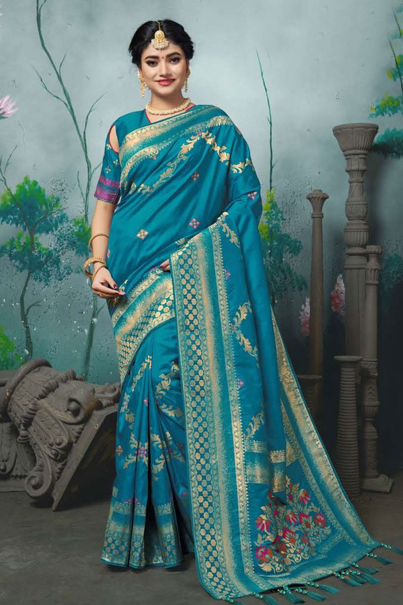 Banarasi Silk Fabric Sky Blue Color Festive Wear Saree With Weaving Work And Attractive Blouse