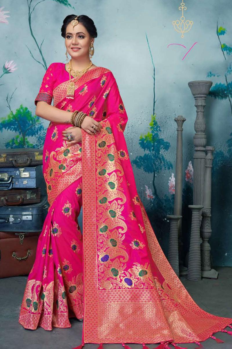 Occasion Wear Banarasi Silk Fabric Weaving Work Saree In Rani Color With Designer Blouse