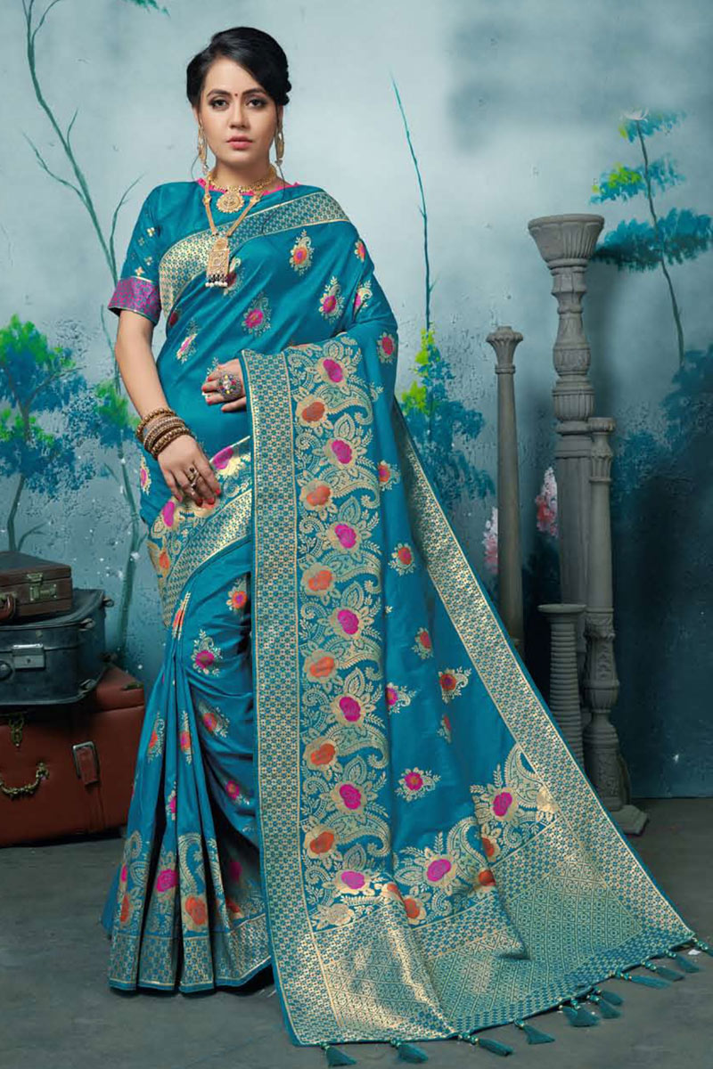 Weaving Work On Banarasi Silk Fabric Sky Blue Color Function Wear Saree With Marvelous Blouse