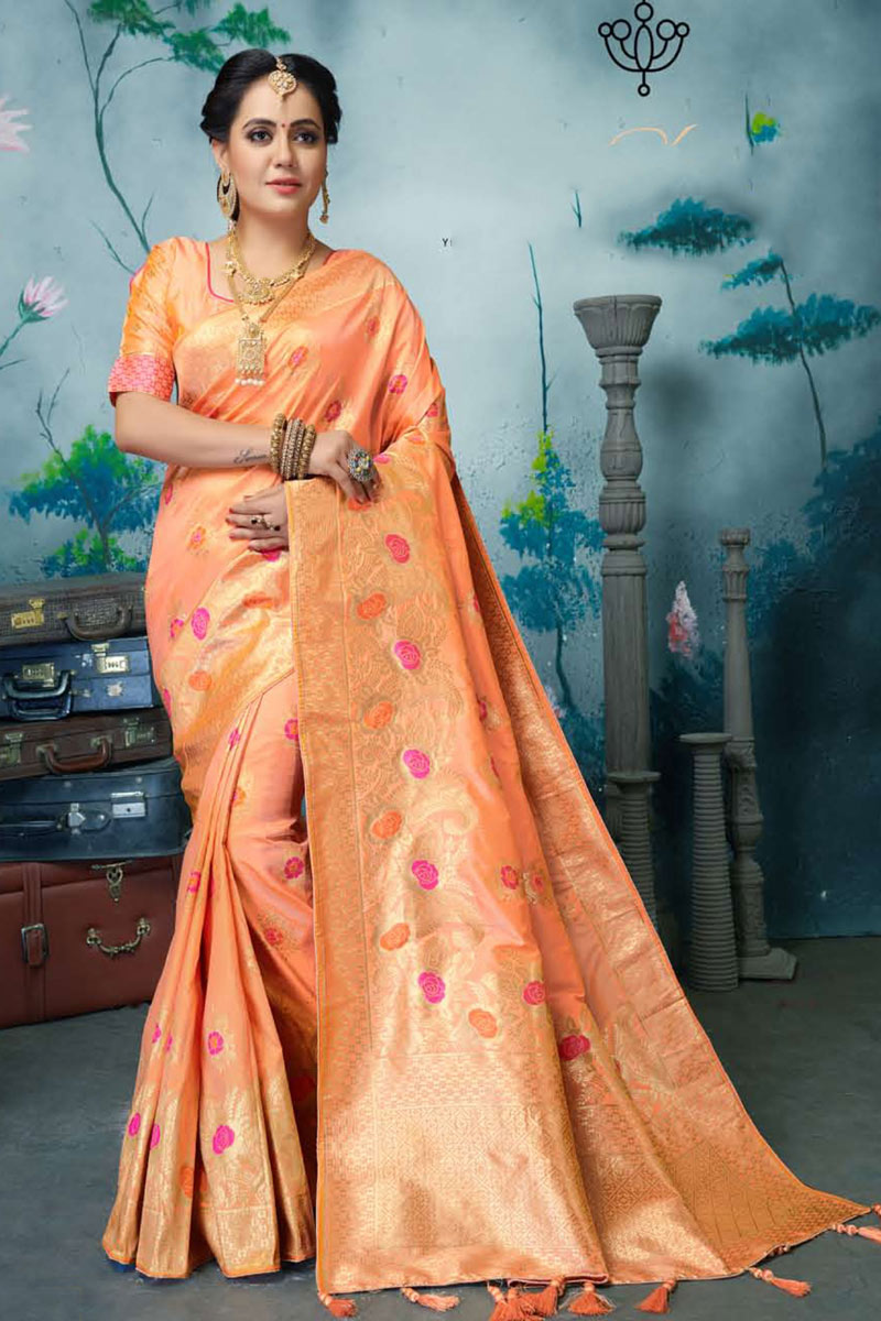 Salmon Color Banarasi Silk Fabric Wedding Wear Saree With Weaving Work And Gorgeous Blouse