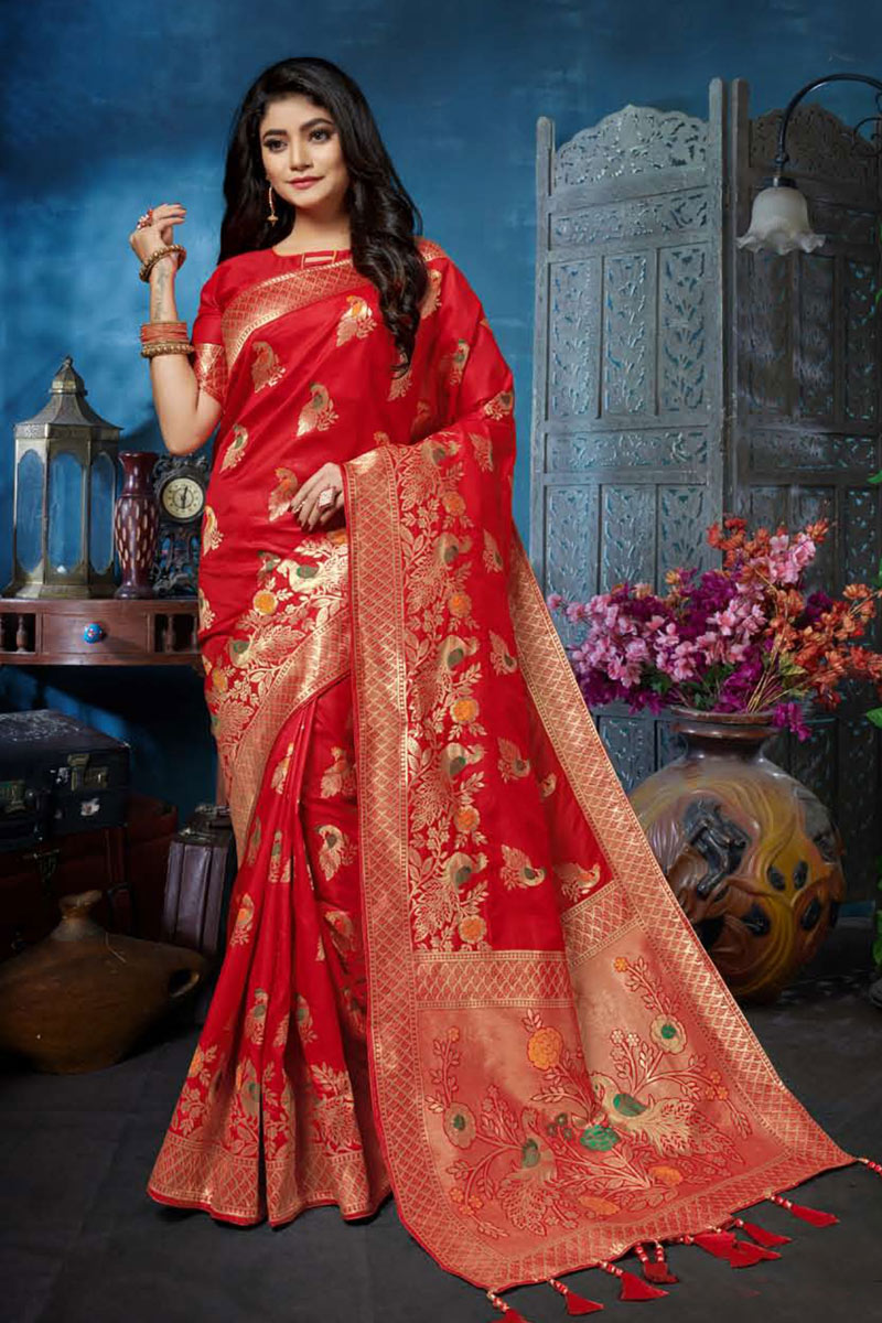 Banarasi Silk Fabric Red Color Festive Saree With Weaving Work And Gorgeous Blouse