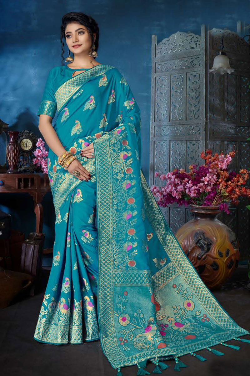 Weaving Work On Occasion Wear Saree In Sky Blue Color With Designer Blouse