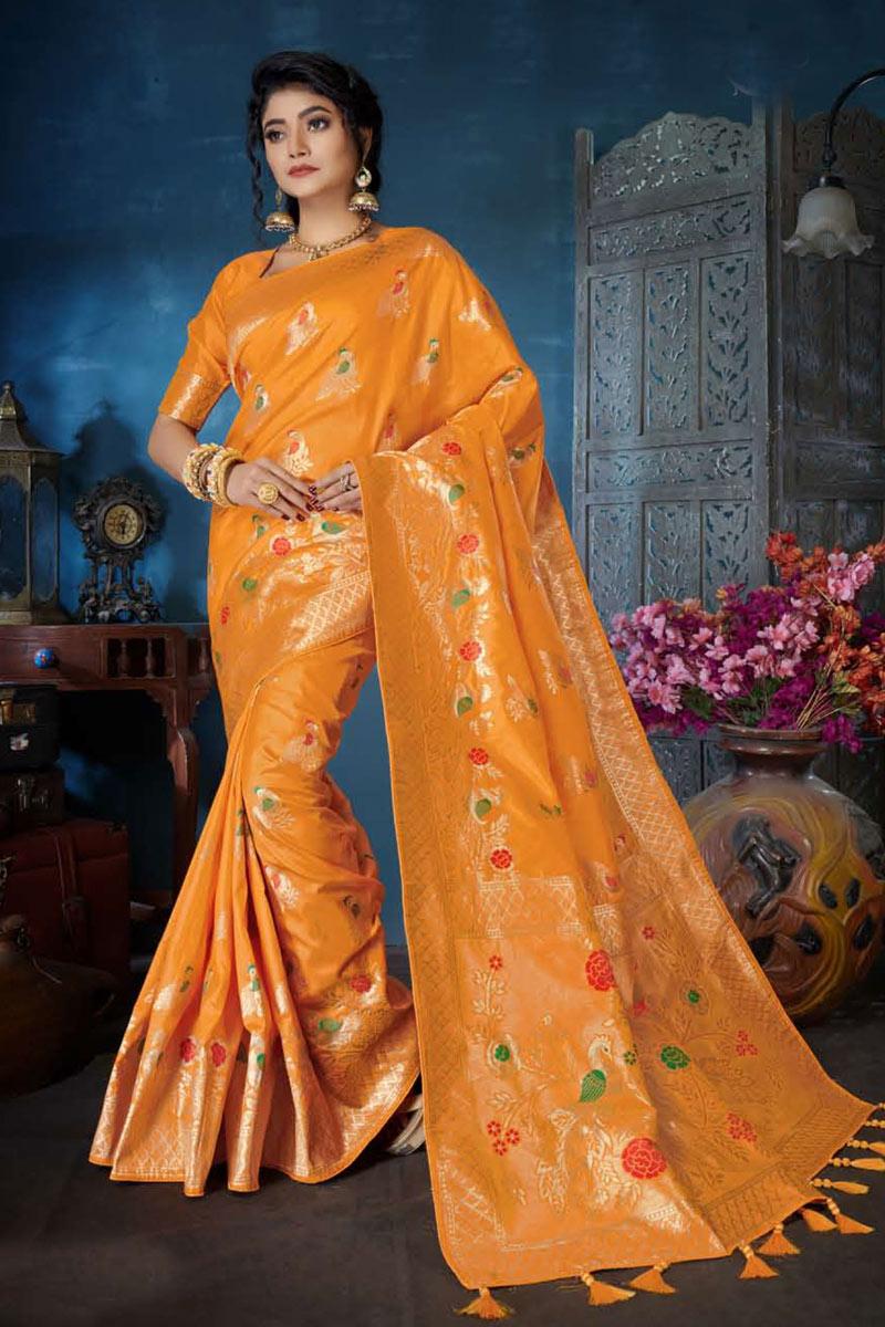 Orange Color Banarasi Silk Fabric Wedding Wear Saree With Weaving Work And Gorgeous Blouse
