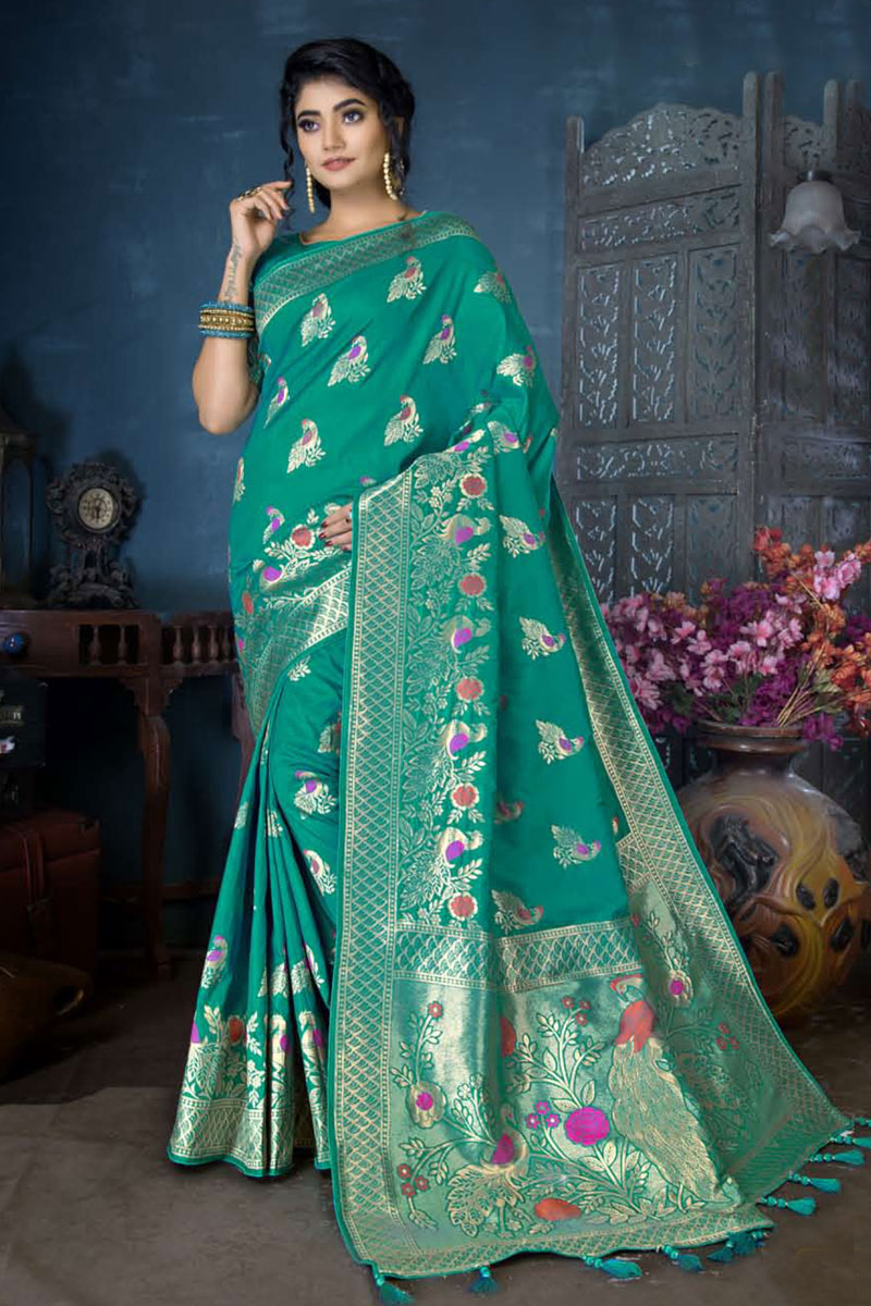 Weaving Work On Teal Color Designer Saree In Banarasi Silk Fabric With Admirable Blouse