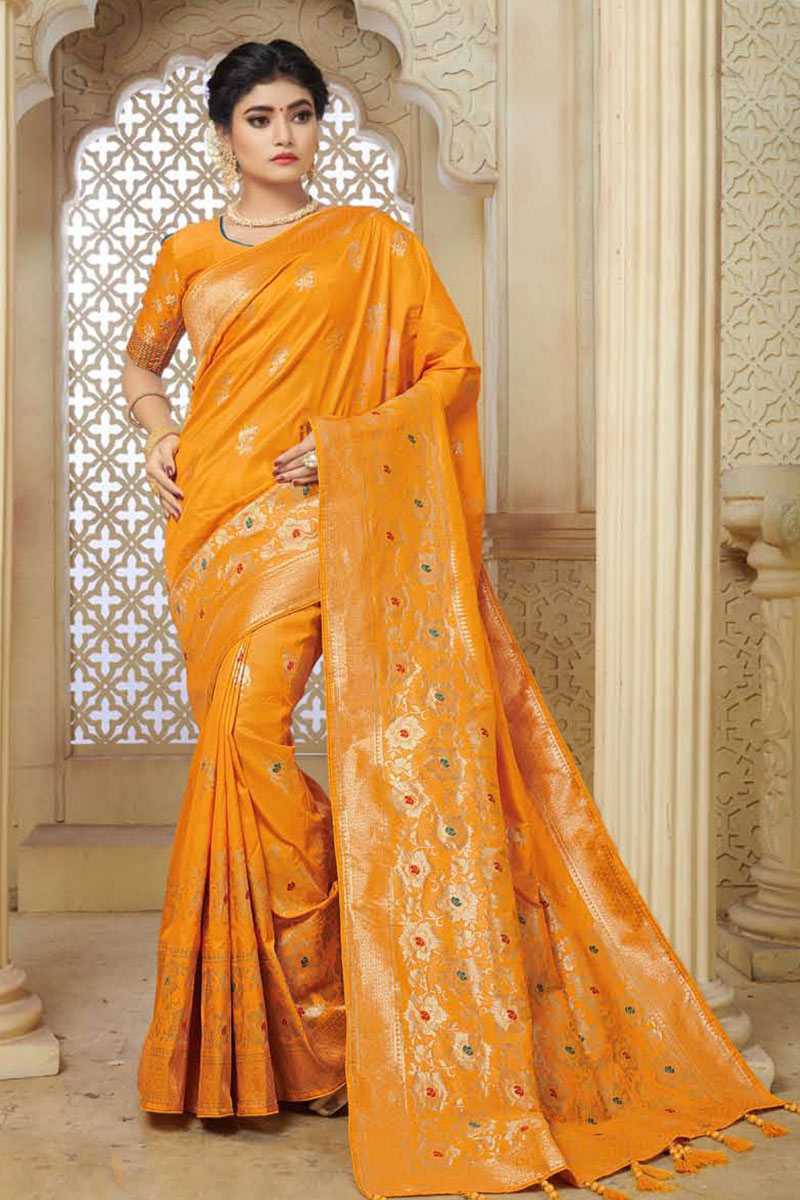 Weaving Work On Banarasi Silk Fabric Party Wear Saree In Orange Color With Beautiful Blouse