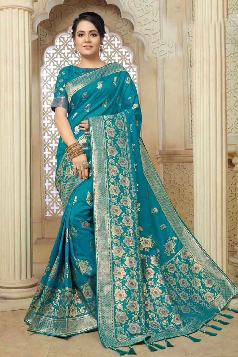 Sky Blue Color Designer Saree In Banarasi Silk Fabric With Weaving Work Designs And Attractive Blouse