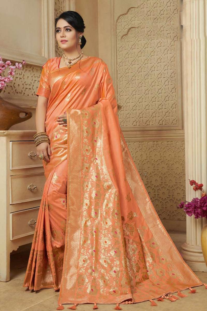 Banarasi Silk Fabric Salmon Color Occasion Wear Saree With Weaving Work And Designer Blouse
