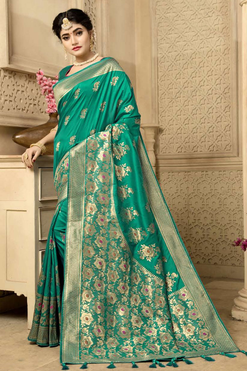 Weaving Work Designs On Banarasi Silk Fabric Teal Color Party Wear Saree With Mesmerizing Blouse