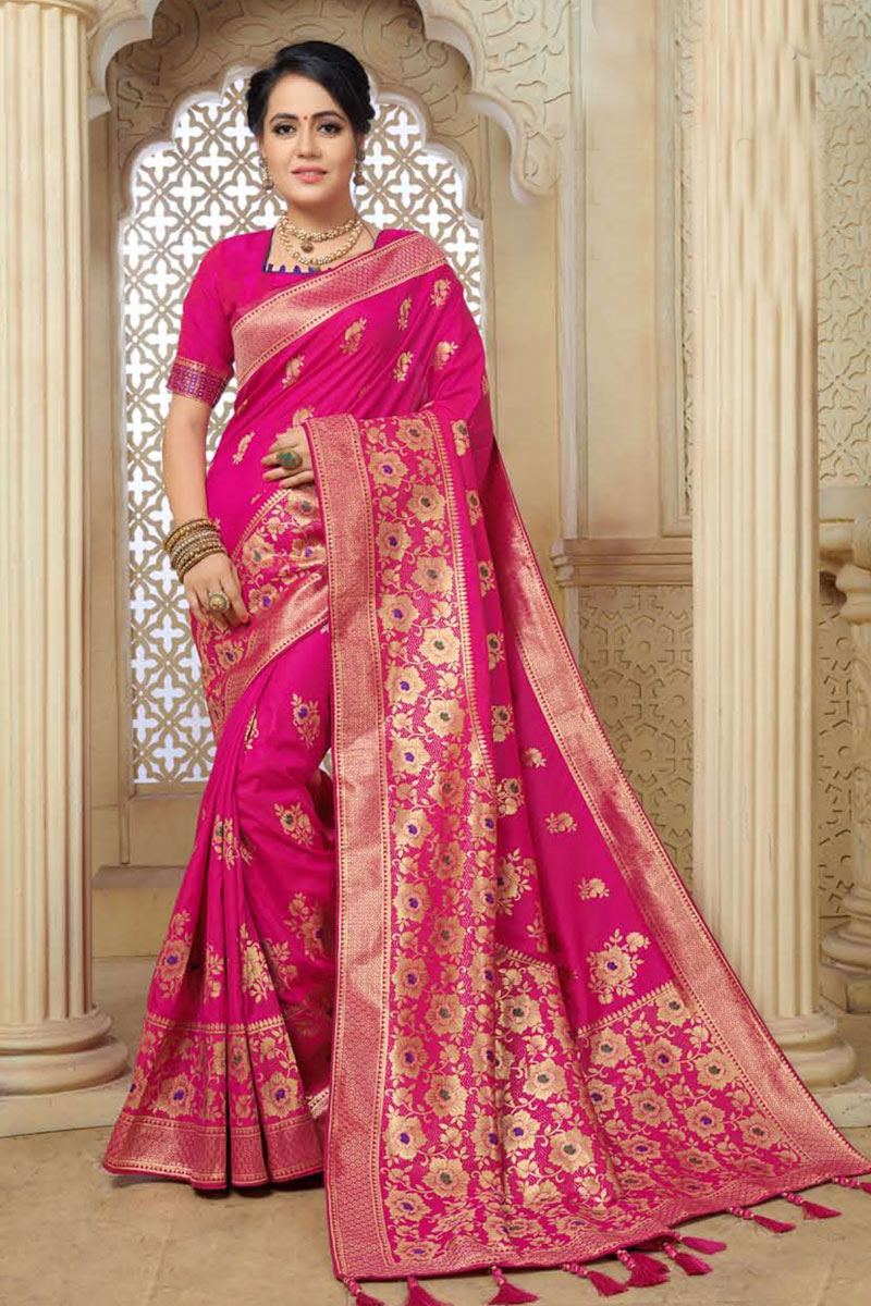 Rani Color Banarasi Silk Fabric Designer Saree With Weaving Work And Party Wear Blouse
