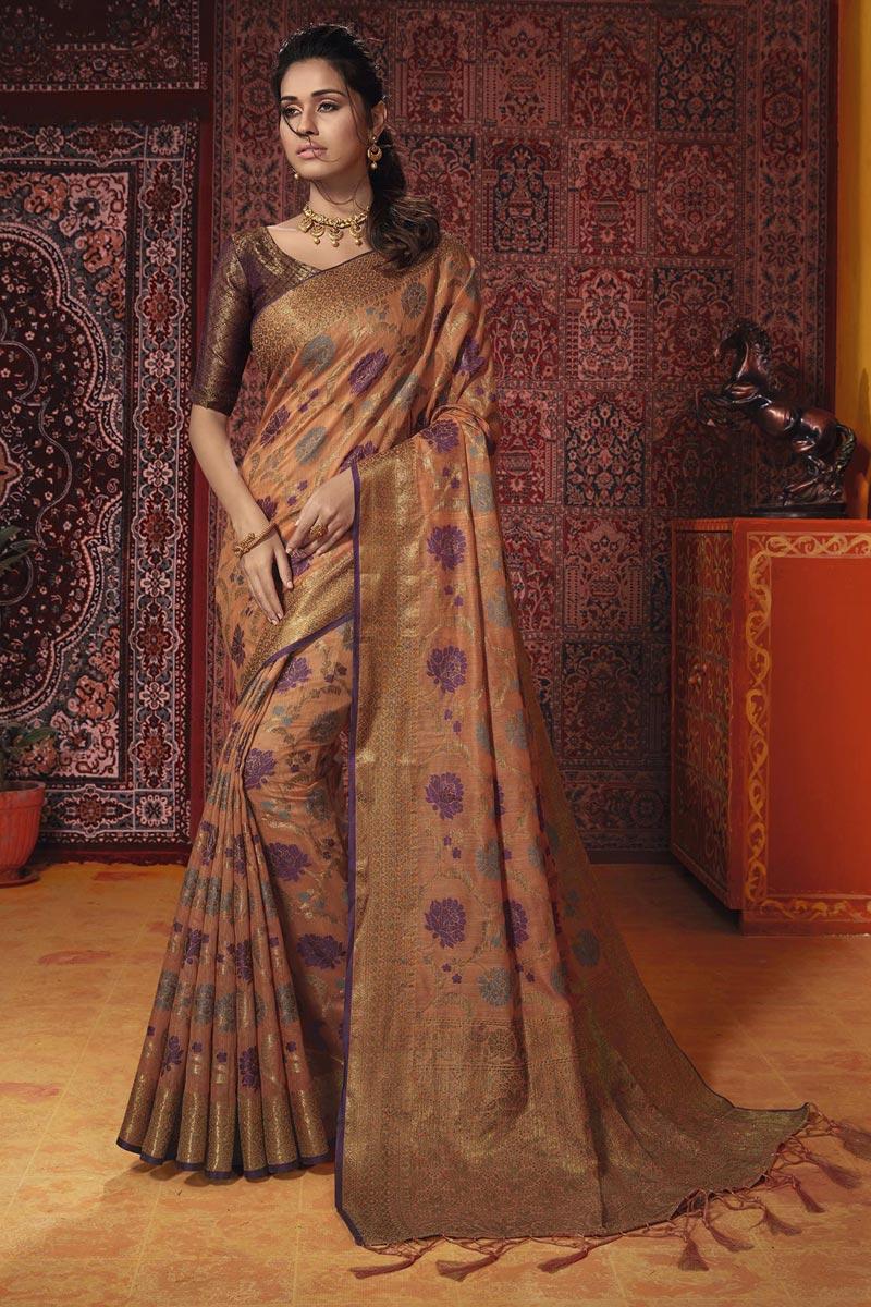 Chikoo Color Cotton Silk Temple Wear Fancy Weaving Work Saree