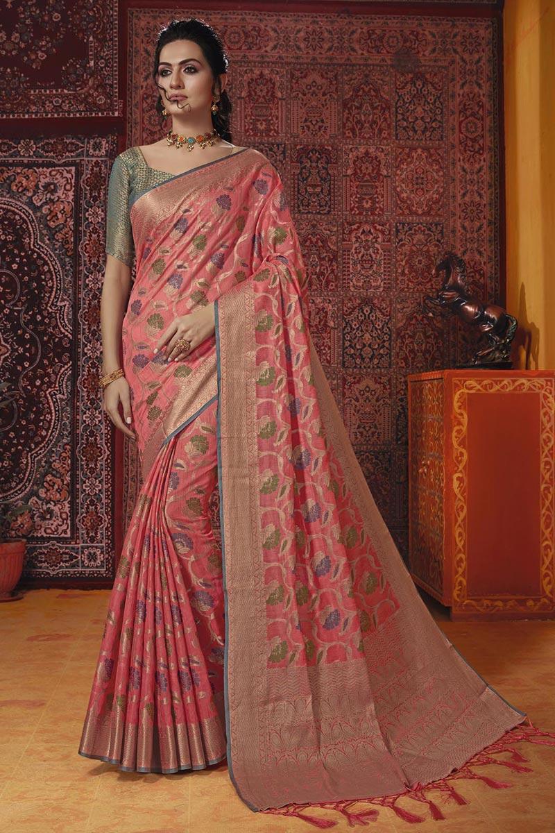 Temple Wear Cotton Silk Fancy Weaving Work Saree In Peach