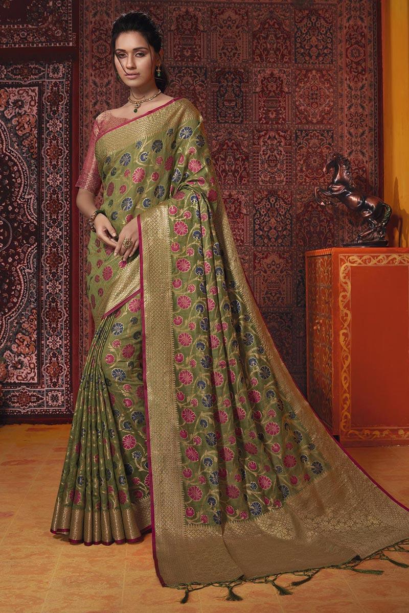 Cotton Silk Temple Wear Fancy Weaving Work Mehendi Green Saree