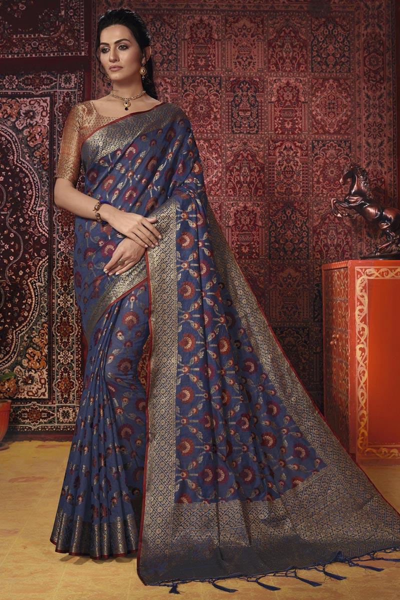 Temple Wear Cotton Silk Fancy Navy Blue Weaving Work Saree