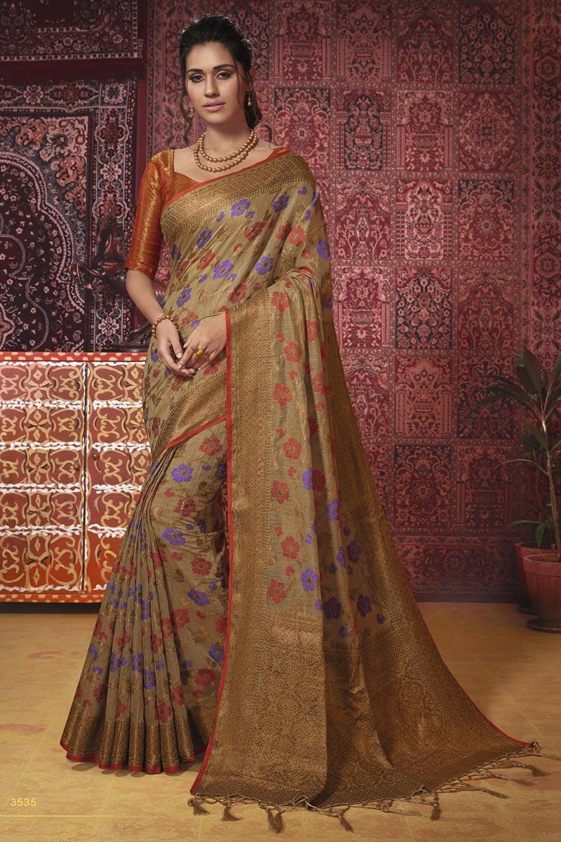 Beige Temple Wear Fancy Weaving Work Saree In Cotton Silk