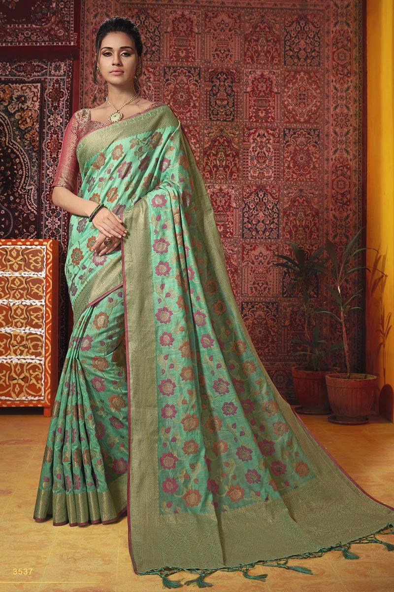 Temple Wear Fancy Weaving Work Saree In Sea Green Cotton Silk