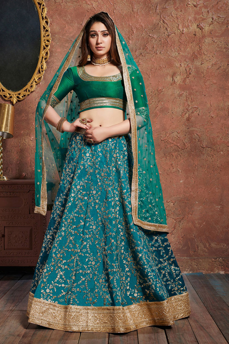 Velvet Fabric Designer Bridal Lehenga With Embroidery Work On Teal Color