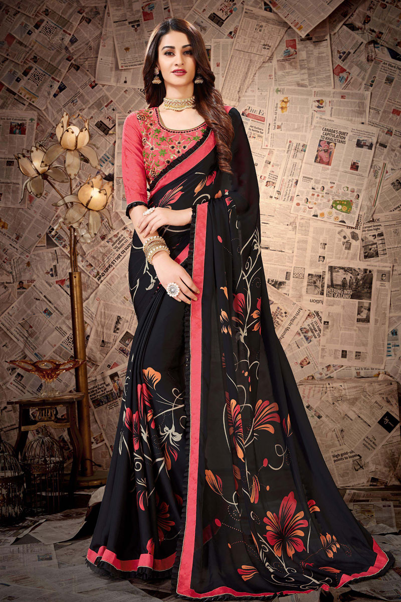 Lace Work Designs On Satin Georgette Fabric Black Color Party Wear Saree With Mesmerizing Blouse