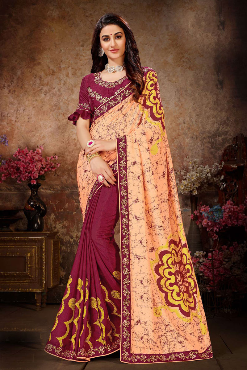 Peach Color Art Silk Fabric Wedding Wear Saree With Lace Work And Gorgeous Blouse