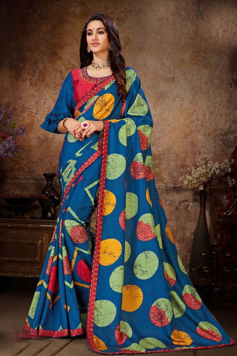 Art Silk Fabric Designer Lace Work Saree In Blue Color With Attractive Blouse