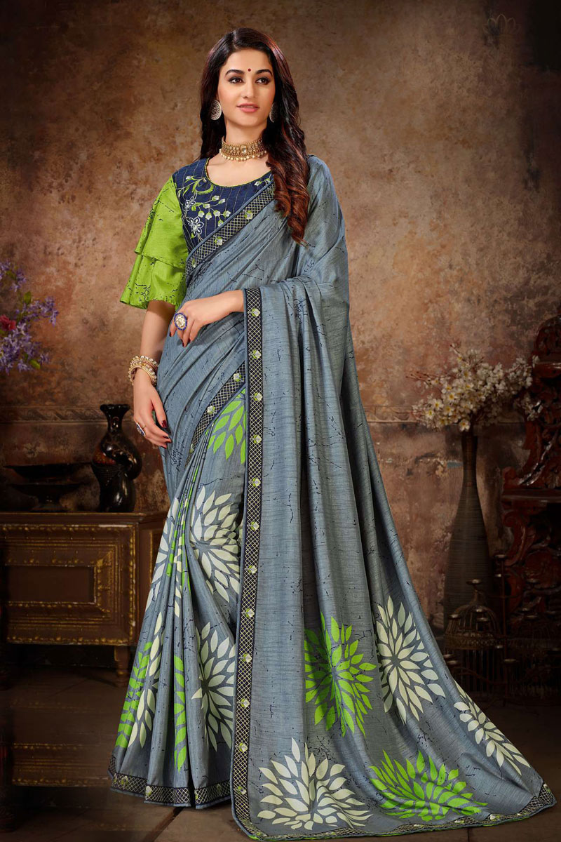 Grey Color Party Wear Saree In Art Silk Fabric With Lace Work And Beautiful Blouse