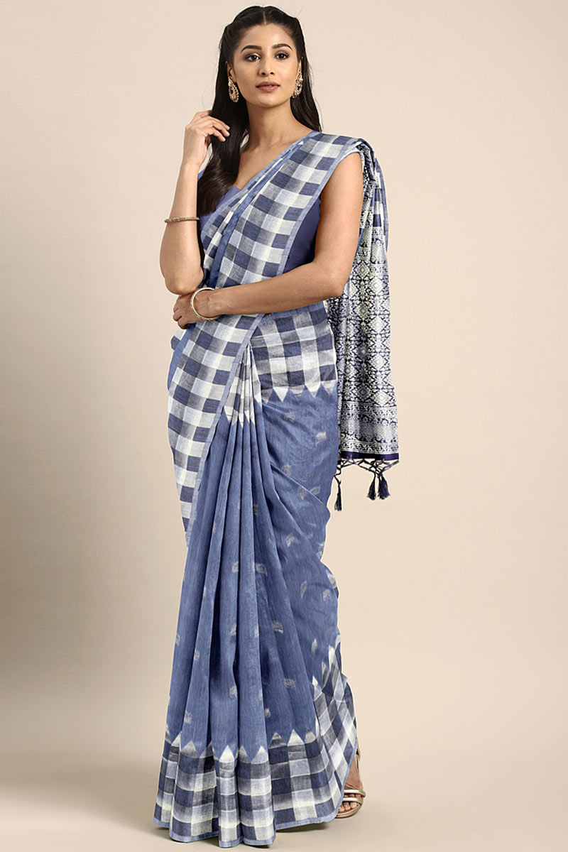 Blue Art Silk Wedding Wear Saree With Weaving Work And Gorgeous Blouse