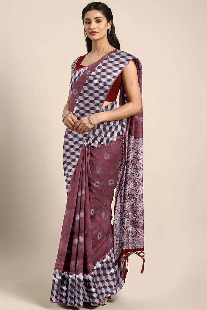 Art Silk Weaving Work Designs On Brown Reception Wear Saree With Attractive Blouse