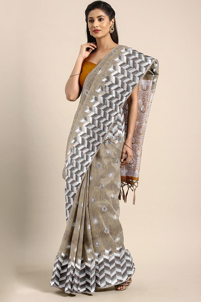 Weaving Work On Dark Beige Art Silk Party Wear Saree With Amazing Blouse