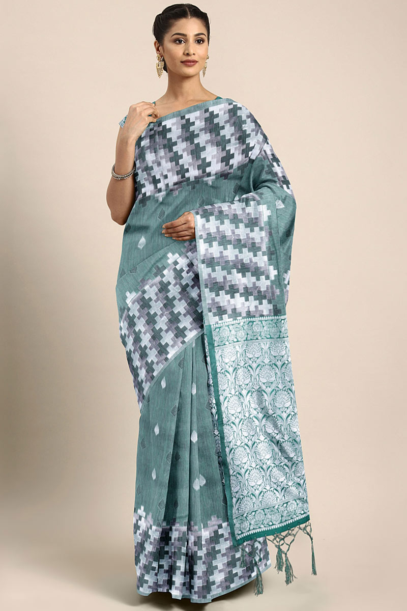 Dark Teal Art Silk Function Wear Saree With Weaving Work And Astounding Blouse
