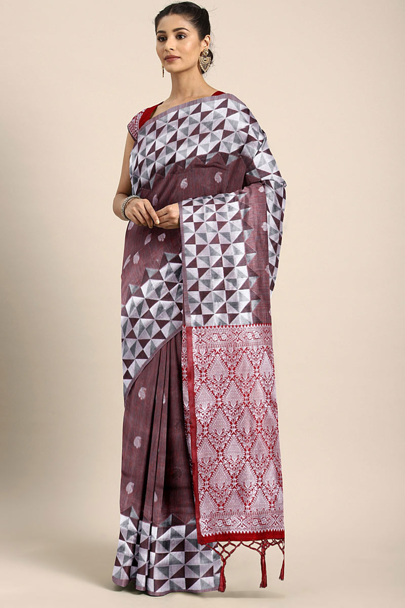 Art Silk Wine Festive Saree With Weaving Work And Gorgeous Blouse