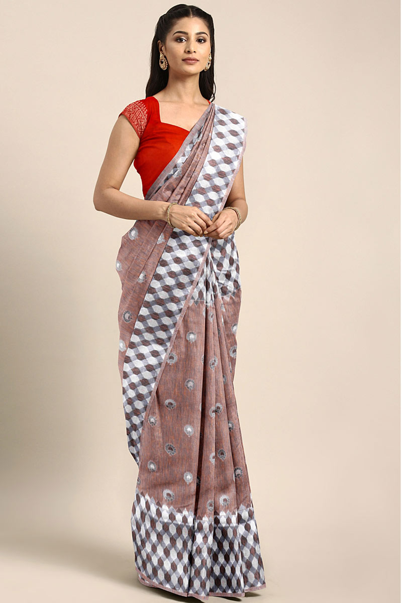 Weaving Work On Occasion Wear Saree In Brown With Designer Blouse