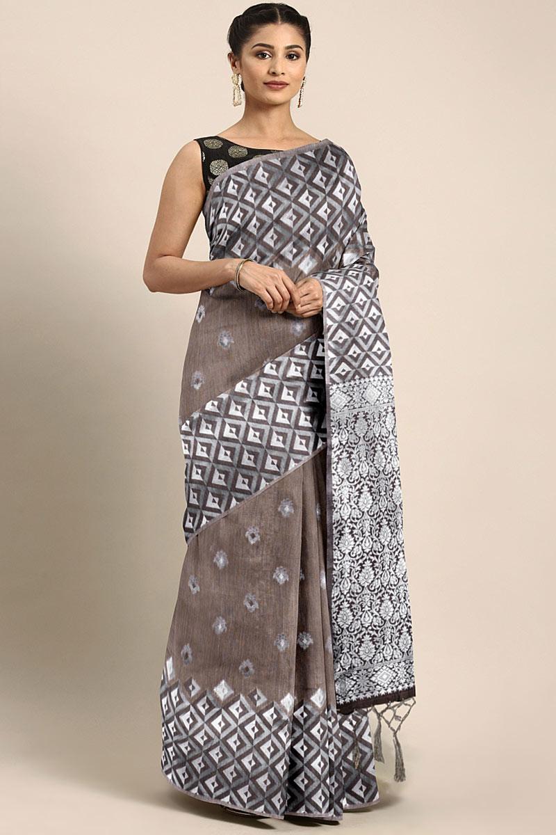 Dark Beige Art Silk Wedding Wear Saree With Weaving Work And Gorgeous Blouse