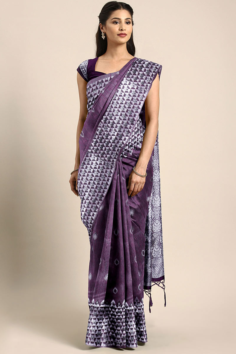 Weaving Work On Pruple Designer Saree In Art Silk With Admirable Blouse