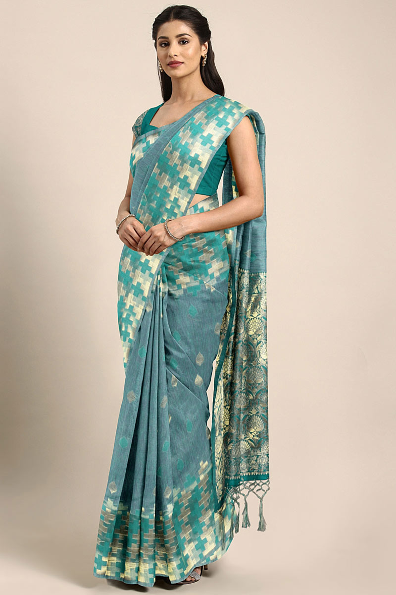 Art Silk Teal Festive Wear Saree With Weaving Work And Attractive Blouse