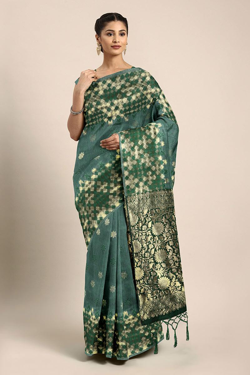 Weaving Work On Art Silk Dark Green Function Wear Saree With Marvelous Blouse