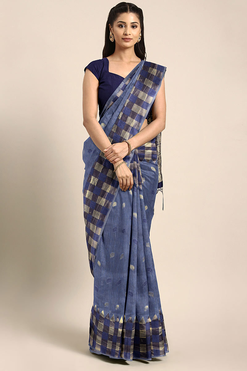 Navy Blue Art Silk Wedding Wear Saree With Weaving Work And Gorgeous Blouse