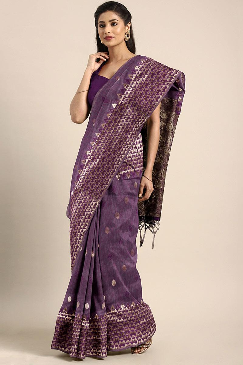 Art Silk Weaving Work Designs On Purple Reception Wear Saree With Attractive Blouse