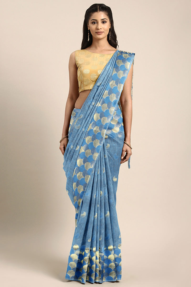 Weaving Work On Blue Art Silk Party Wear Saree With Amazing Blouse