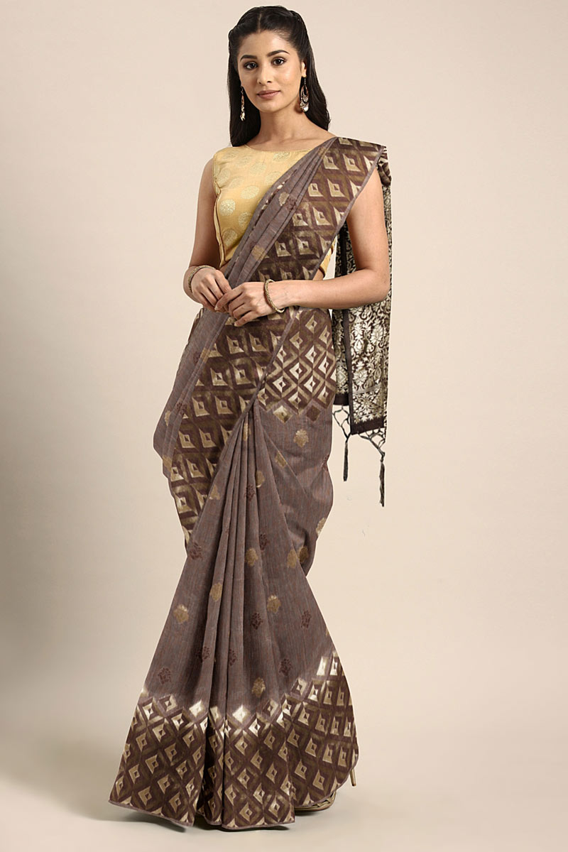 Dark Brown Art Silk Function Wear Saree With Weaving Work And Astounding Blouse